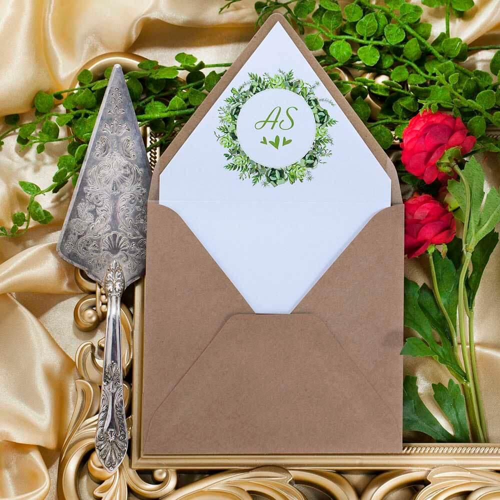 wkładka do kopert zaproszenia greenery
