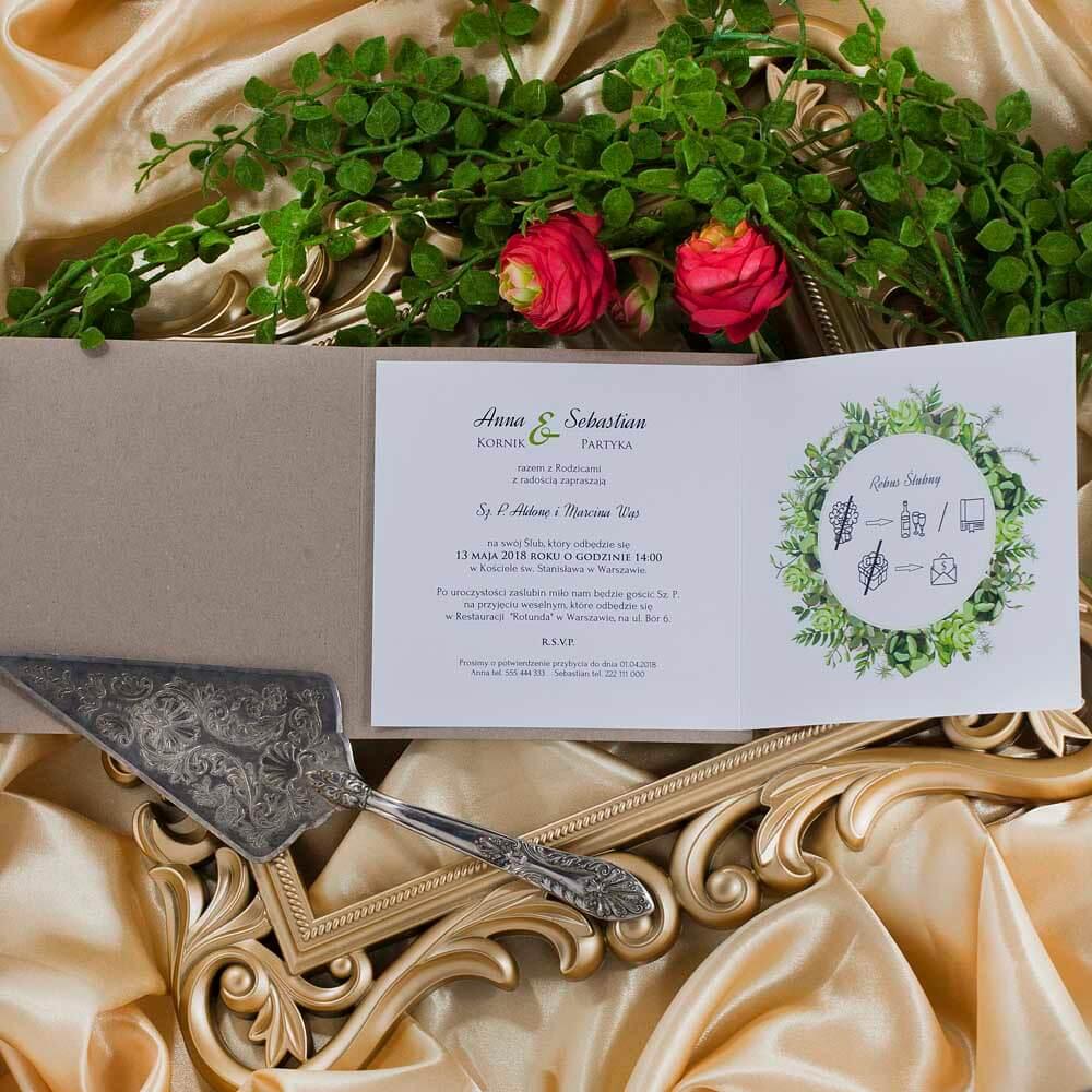 treść do zaproszeń ślubnych greenery