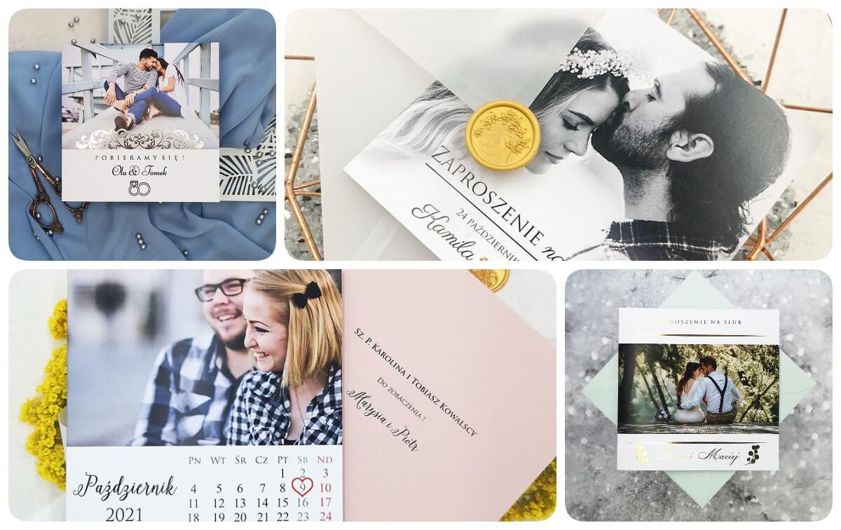 Wzory papeterii ślubnej z wydrukowaną fotografią narzeczonych