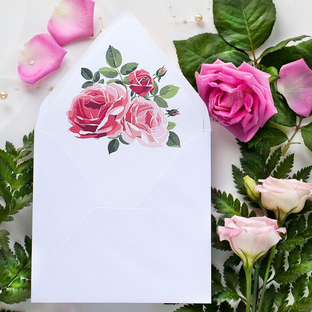 koperta biała, wkładka kwiaty