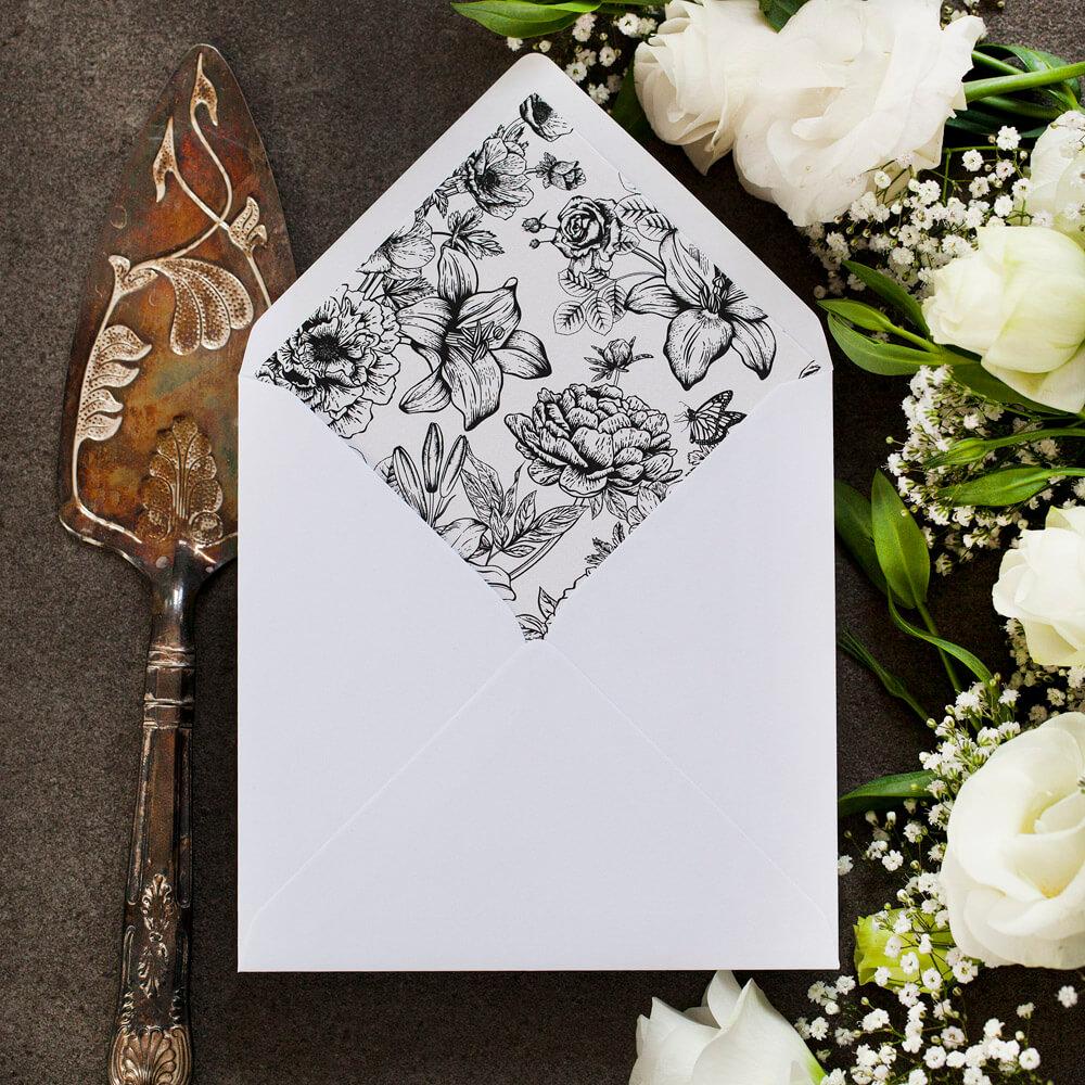 wkładka do koperty ślubnej, czarno-biała