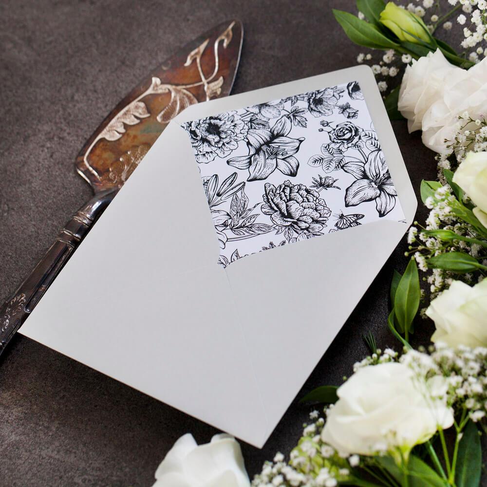 wkładka do szarej koperty ślubnej