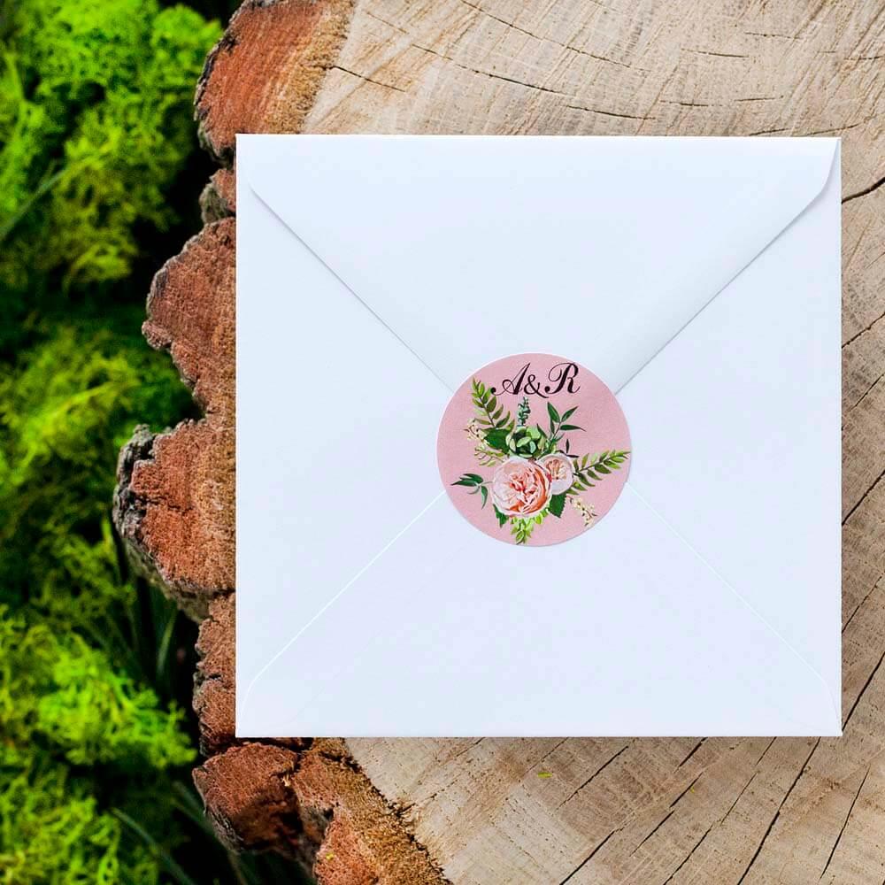 okrągła naklejka na koperty ślubne