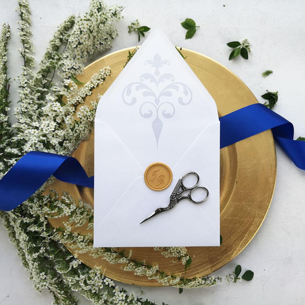 minimalistyczna wkładka ozdobna do koperty ślubnej
