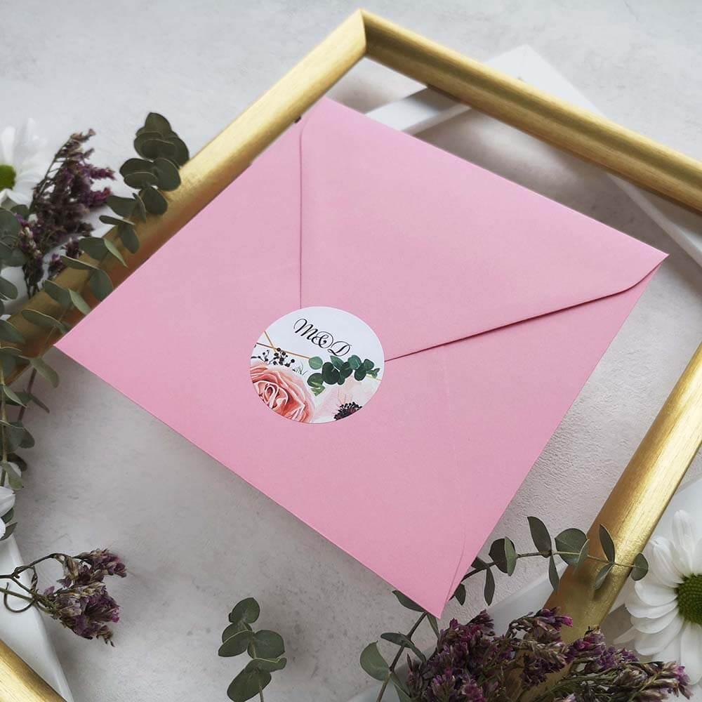 Naklejka na koperty do zaproszeń z motywem kwiatowym