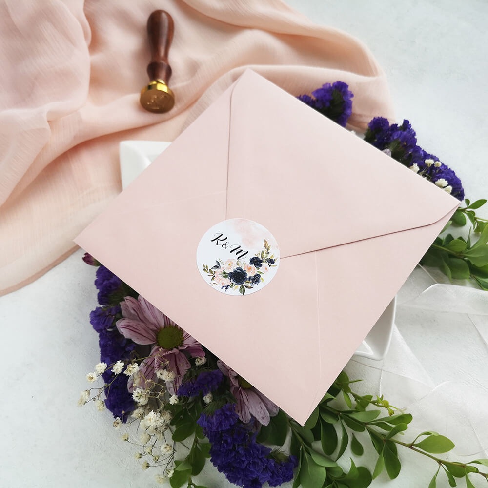 kolorowa kwiatowa naklejka na kopertę do zaproszeń