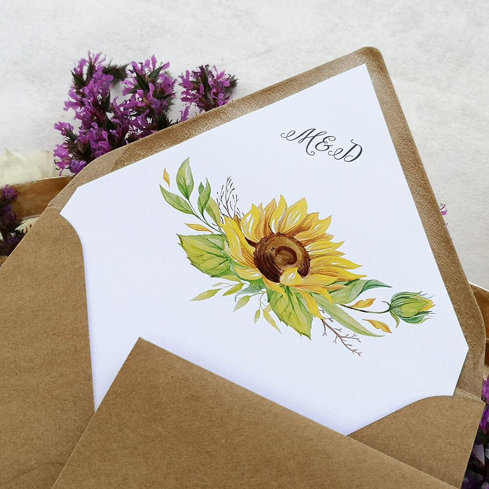 koperta ekologiczna z wkładką, nadruk słoneczników