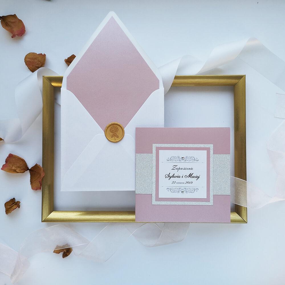 eleganckie zaproszenie z kopertą glamour