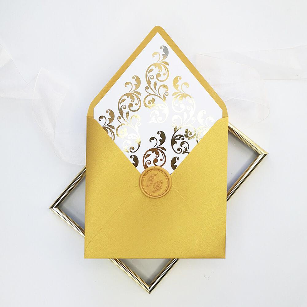 złocona wkładka do metalizowanej koperty złotej royaldekor