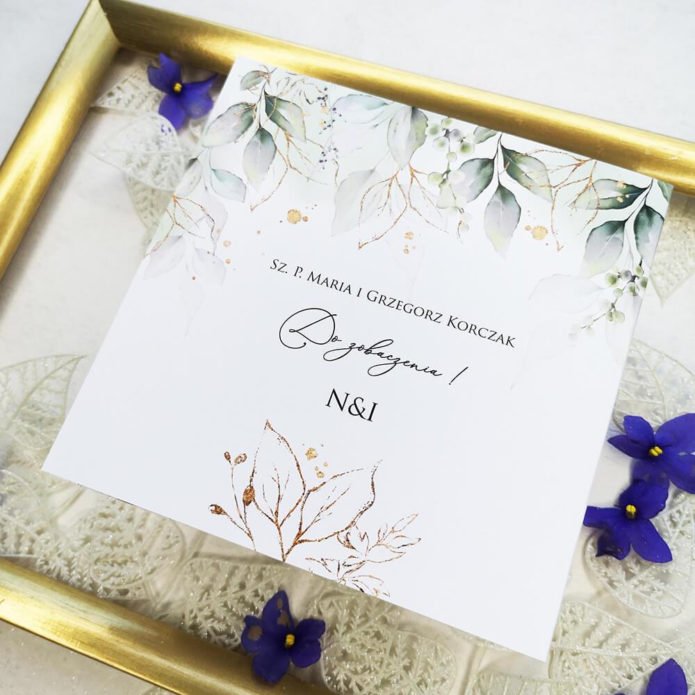 Zadrukowany tył zaproszenia na wesele