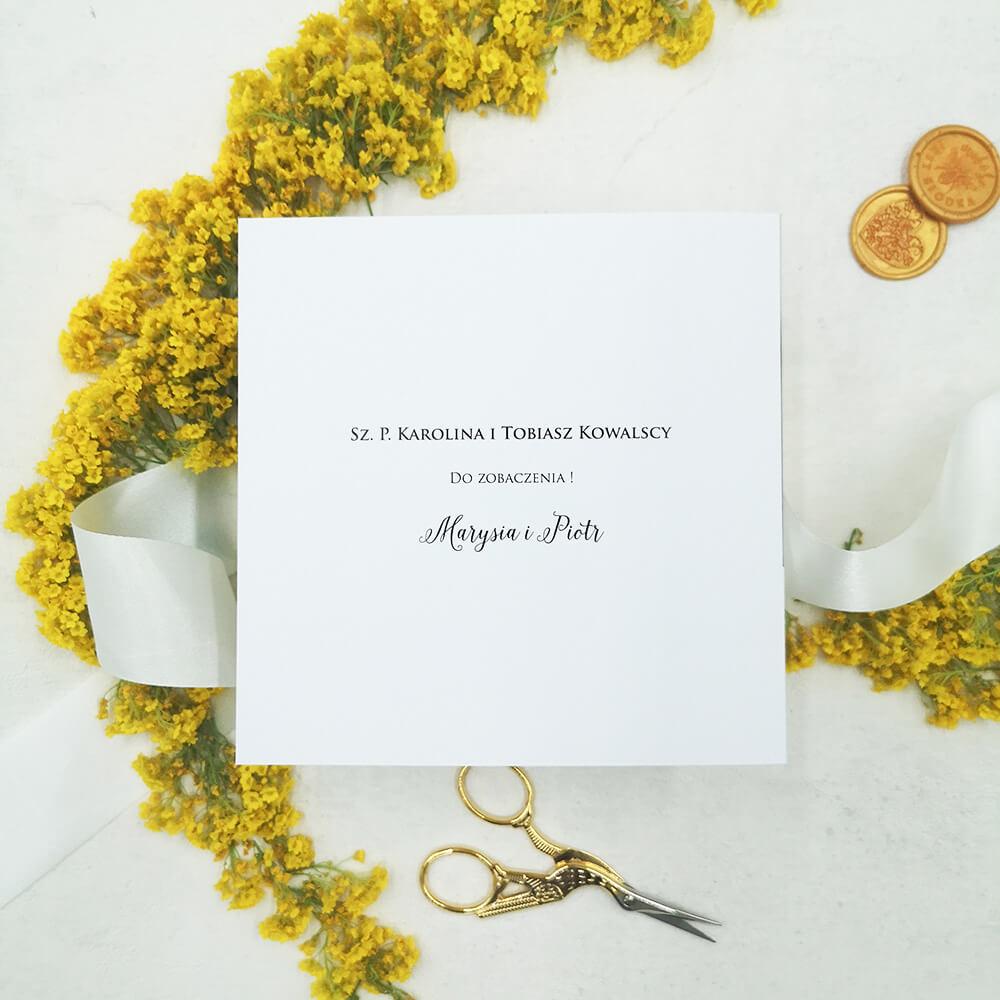 Personalizowane zaproszenie ślubne dla koperty transparentnej