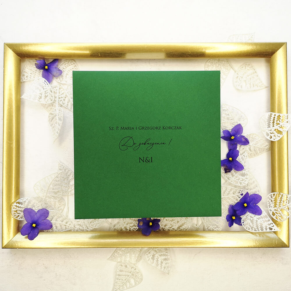 Spersonalizowana zielona koperta weselna