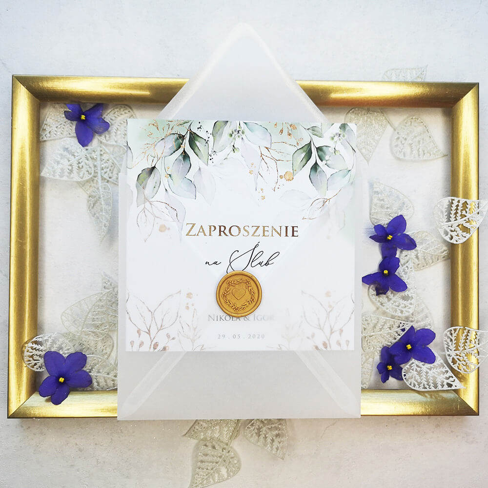 Zaproszenie wraz z kopertą transparentną i lakiem ślubnym