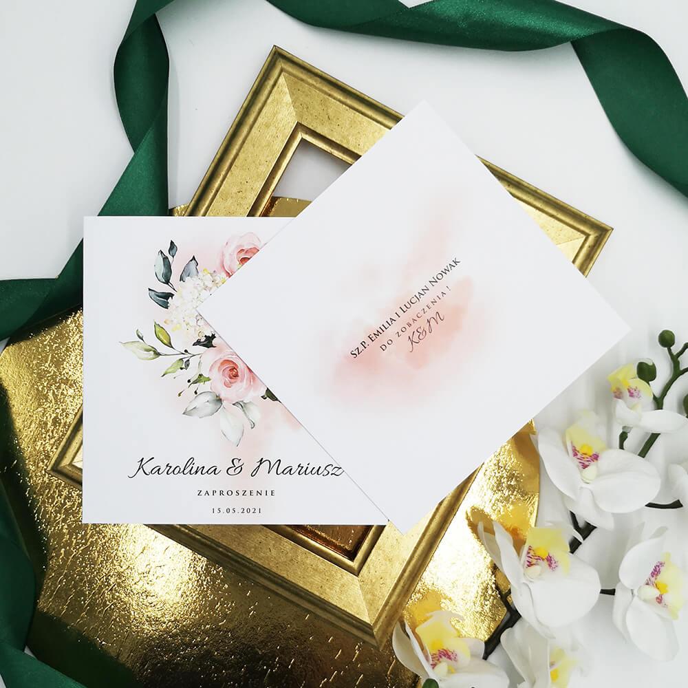 Zaproszenie kwiatowe z różami i personalizacją treści