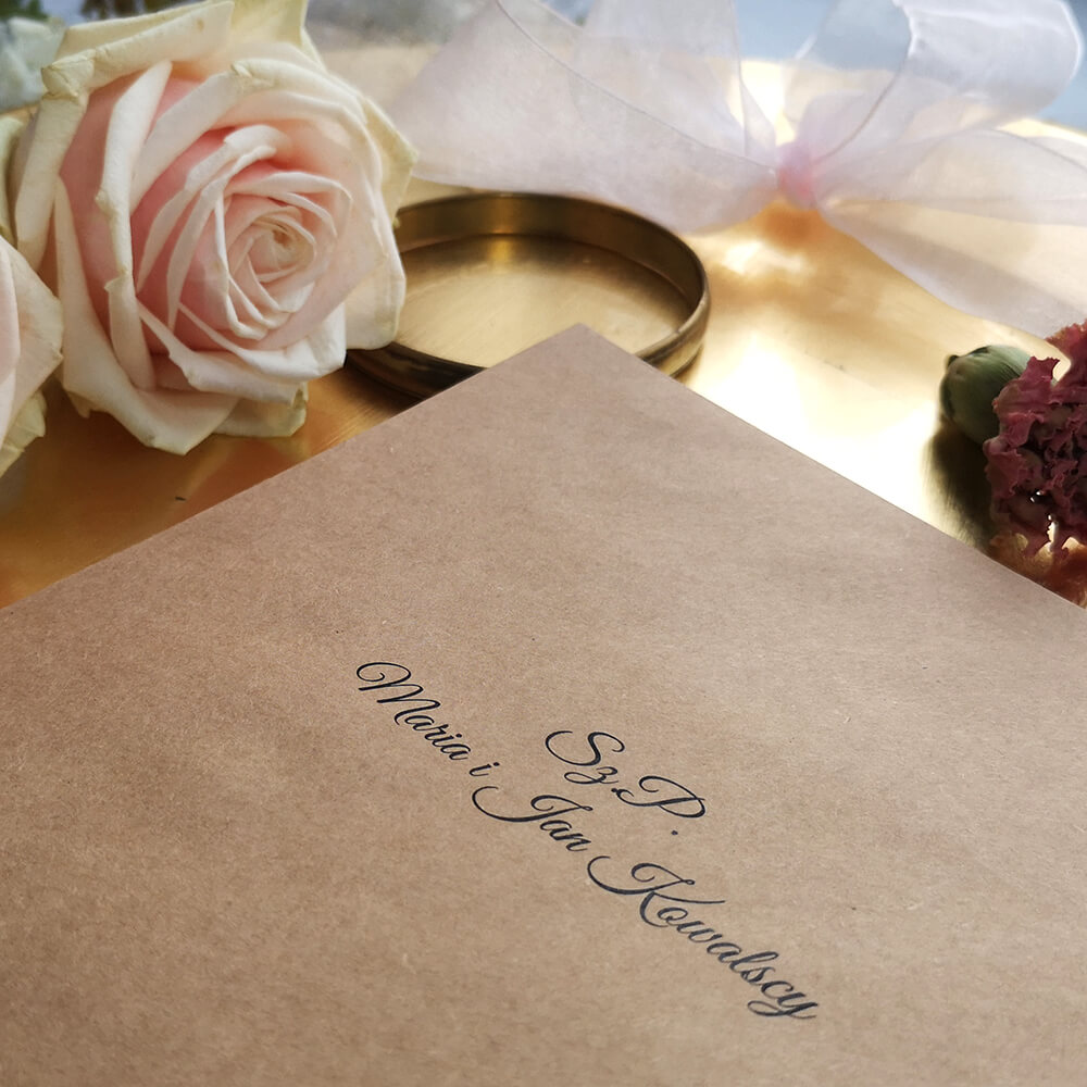 usługa personalizacji kopert ślubnych, druk