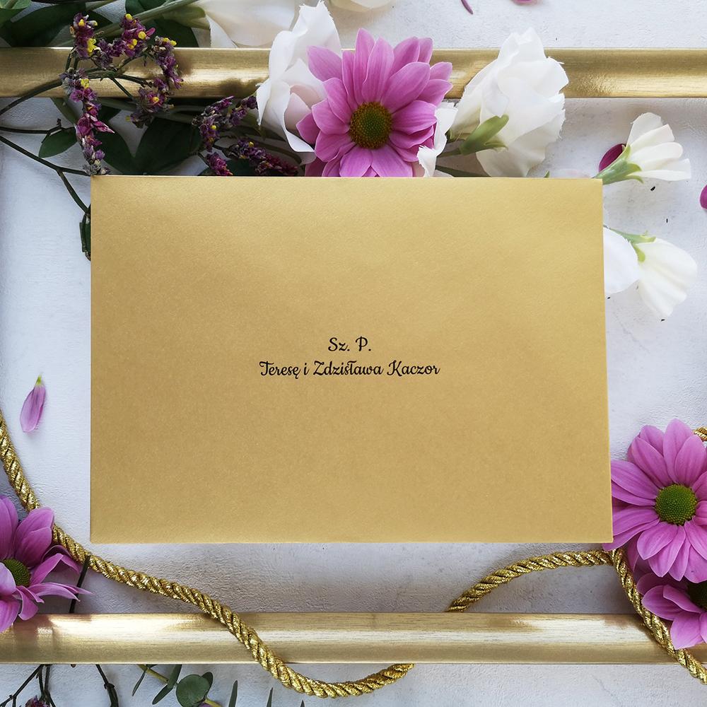 elegancka koperta z personalizacją, kolekcja Złote Retro