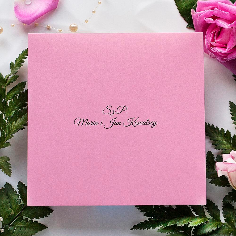 nadruk nazwisk gości weselnych, koperta różowa