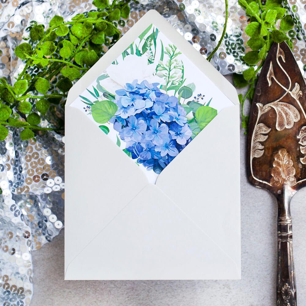 kwiatowa wklejka do kopert ślubnych z hortensją