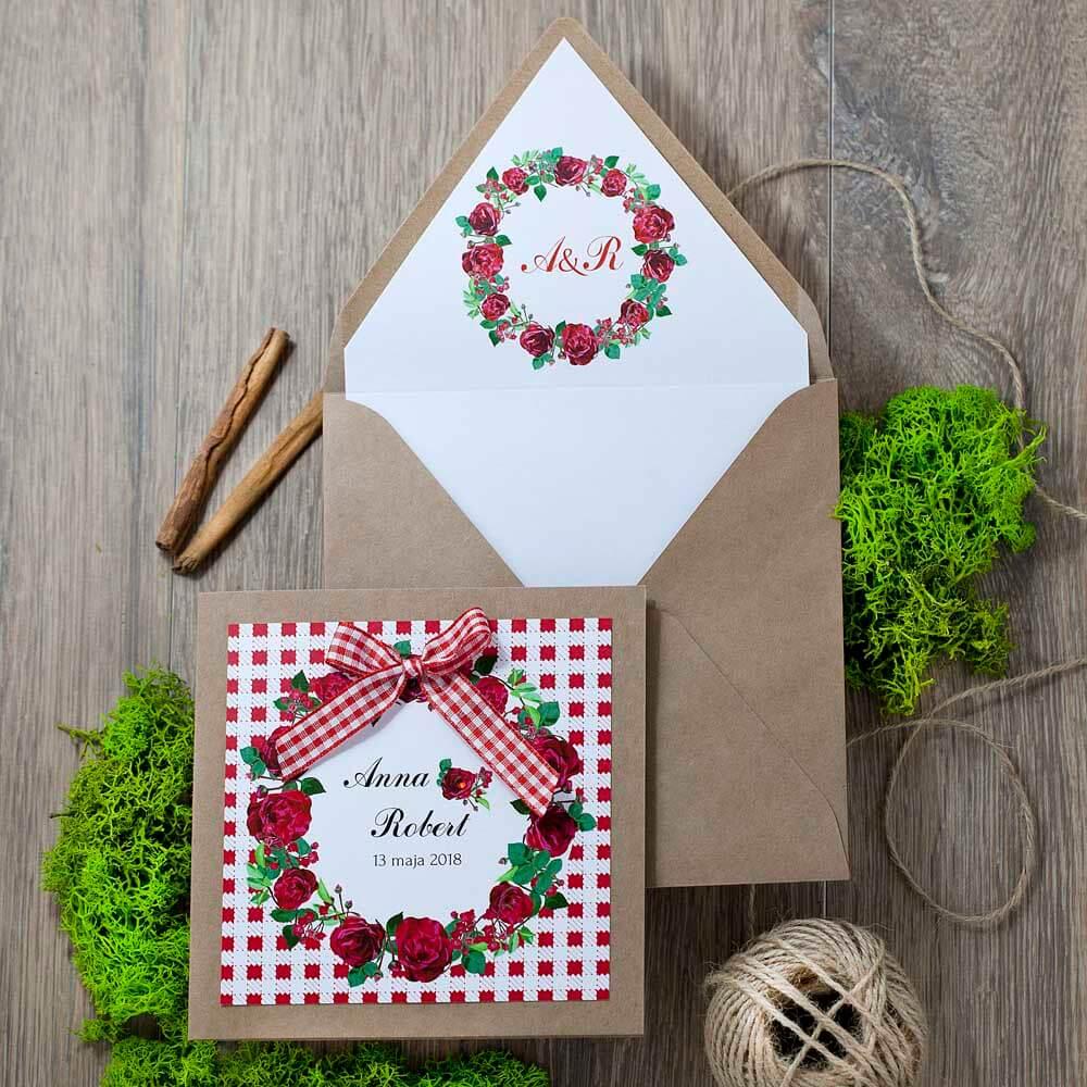 wkładka do kopert ślubnych różana kratka
