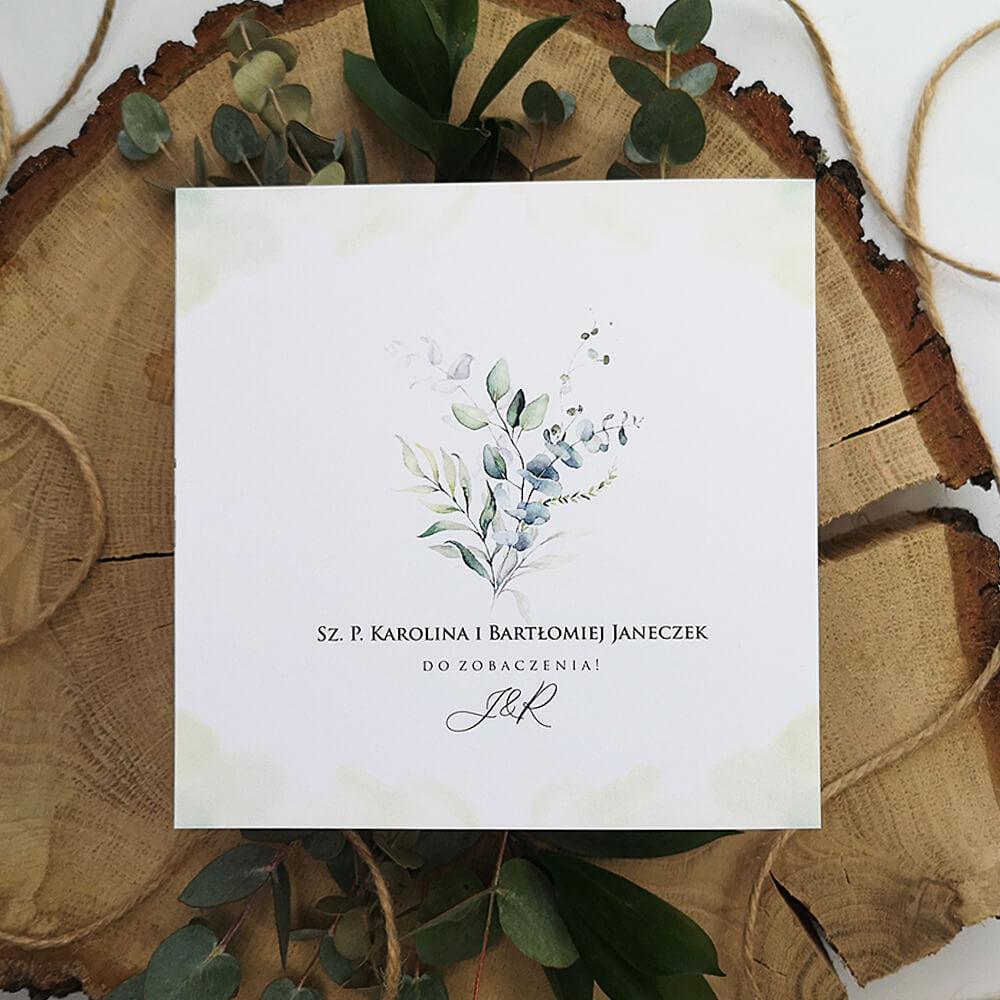 Zaproszenie z motywem eukaliptusa w kopercie przezroczystej z kalki