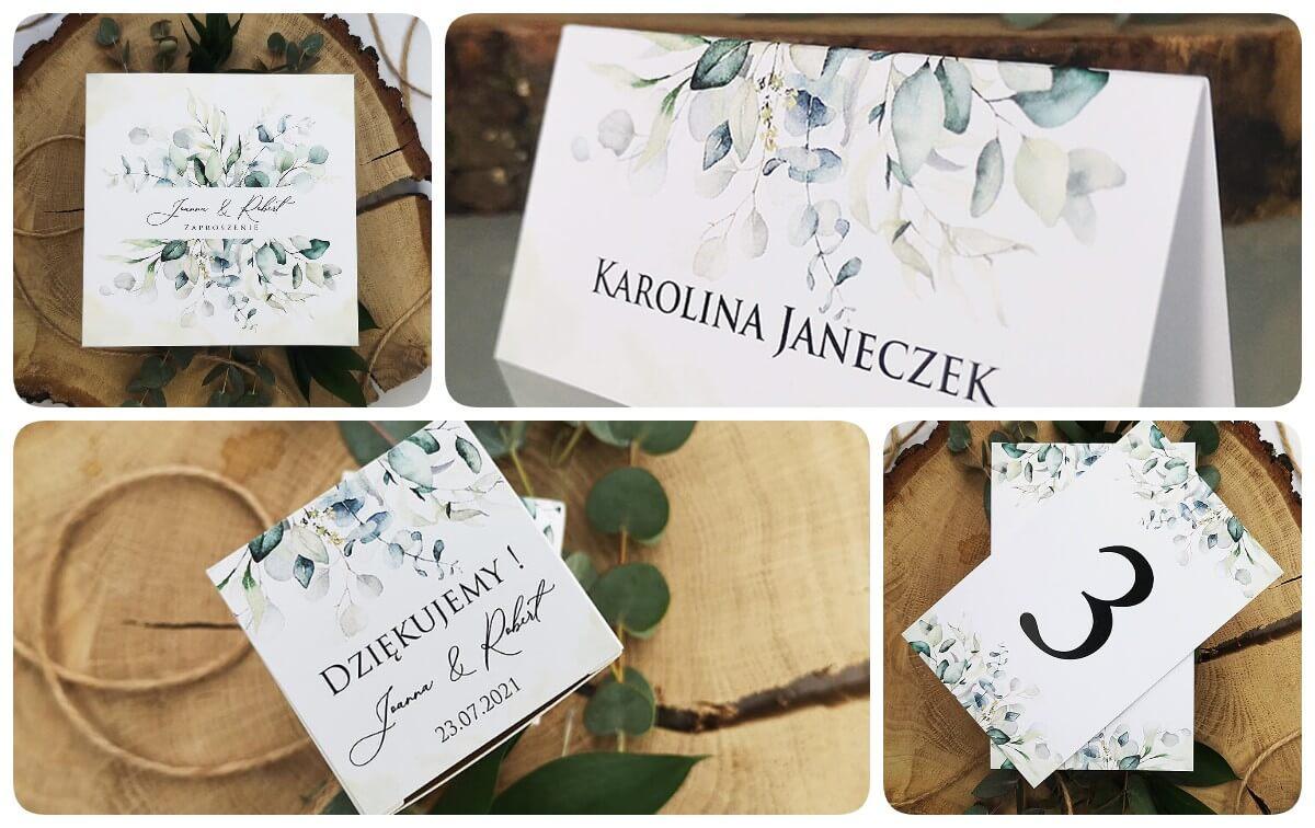 Papeteria ślubna dla miłośników natury, zielone kolory eukaliptusa